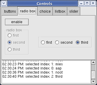 Controls sample on Red Hat Linux (Fedora)