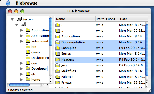 File browser on MacOS X (Panther)