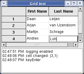 Grid demo on Linux (Fedora) with GTK