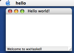 Hello world on MacOS X (Panther)